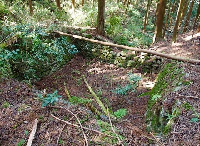 高取城 石垣で囲われている溜池(本荘良智)