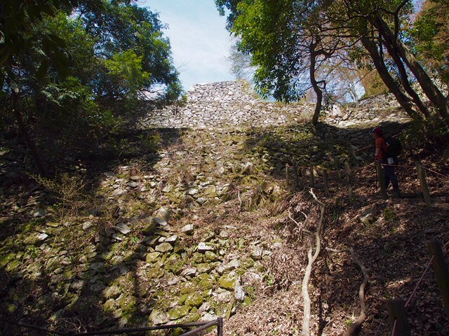 高取城七つ井戸下方から上を望む(本荘良智)