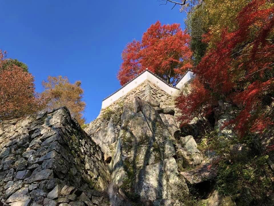 備中松山城大手門跡から望む岩盤